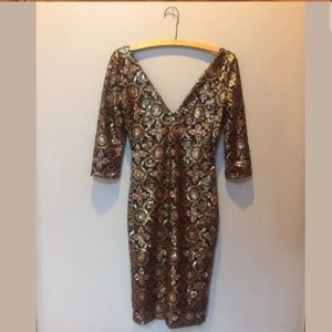 A'GACI Sequin Brocade Midi Body Con Dreas